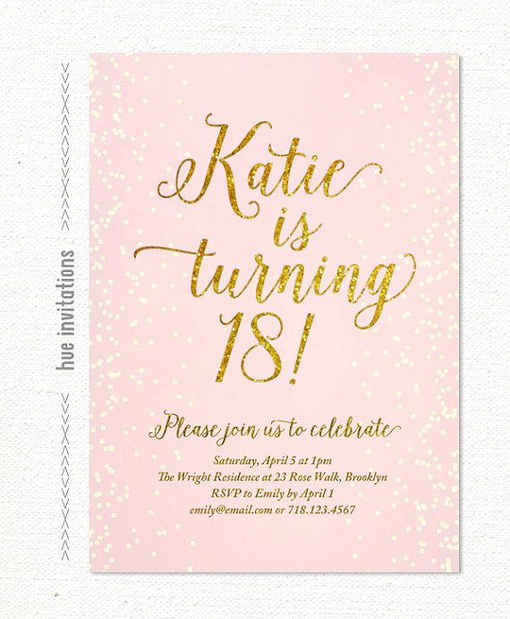 18th Birthday Invitation Ideas Fresh Pink Gold Glitter 18th Birthday Invitation for by