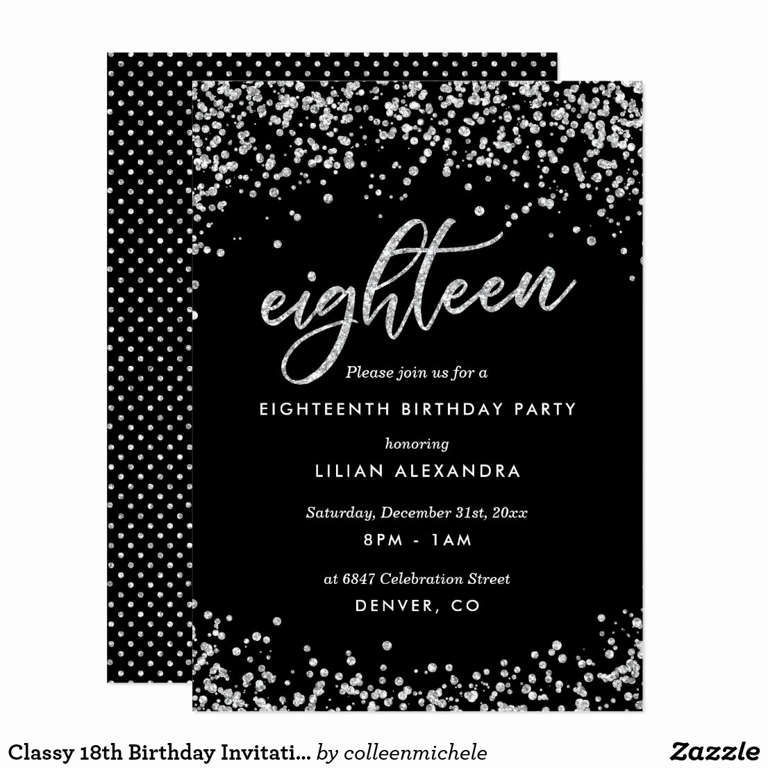 18th Birthday Invitation Ideas Inspirational Classy 18th Birthday Invitation Sparkly Confetti