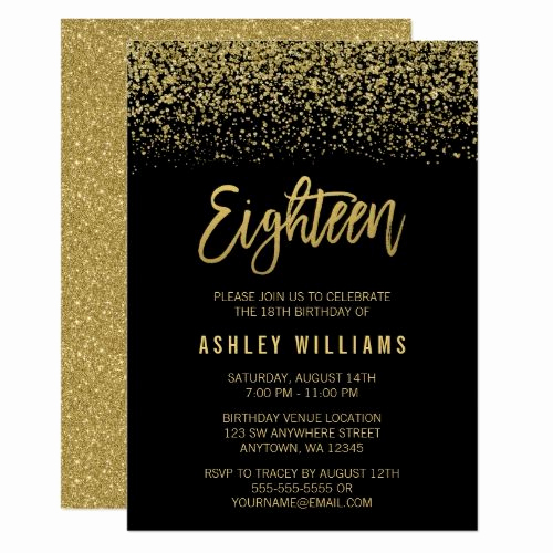 18th Birthday Invitation Ideas Inspirational Modern Black Gold Faux Glitter 18th Birthday Invitation