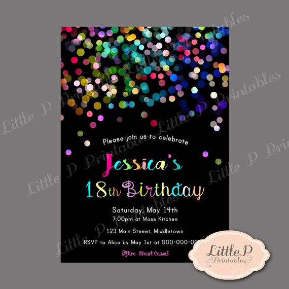 18th Birthday Invitation Ideas Luxury 18th Birthday Invitation Sprinkles Confetti by