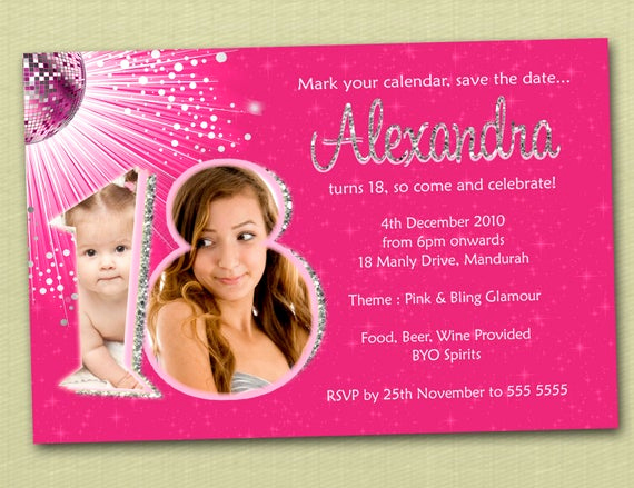 18th Birthday Invitation Wording Awesome Personalised Bling Birthday Invitations 18th 21st by