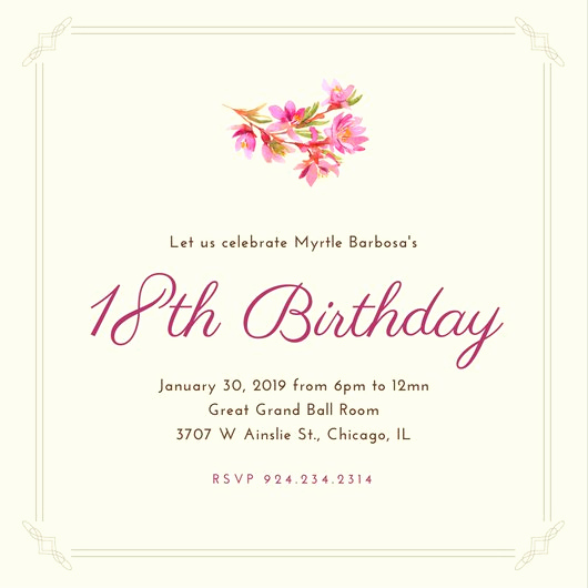 18th Birthday Invitation Wording Best Of Customize 1 023 18th Birthday Invitation Templates Online