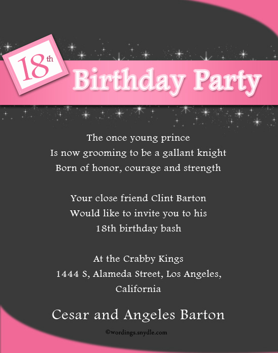 18th Birthday Invitation Wording Best Of Informal Invitation Birthday Party
