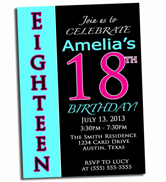 18th Birthday Invitation Wording Best Of Items Similar to 18th Birthday Party Invitation Pink Black