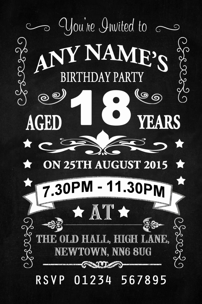 18th Birthday Invitation Wording Fresh Vintage Chalkboard Style Black and White 18th Birthday