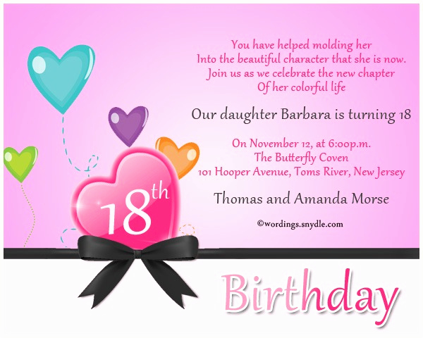 18th bday invitations wordings