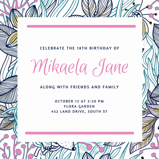 18th Birthday Invitation Wording Luxury 18th Birthday Invitation Templates Canva