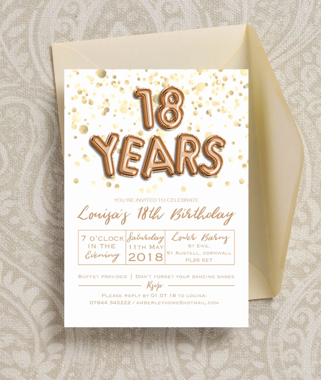 18th Birthday Invitation Wording Luxury Gold Balloon Letters 18th Birthday Party Invitation From £