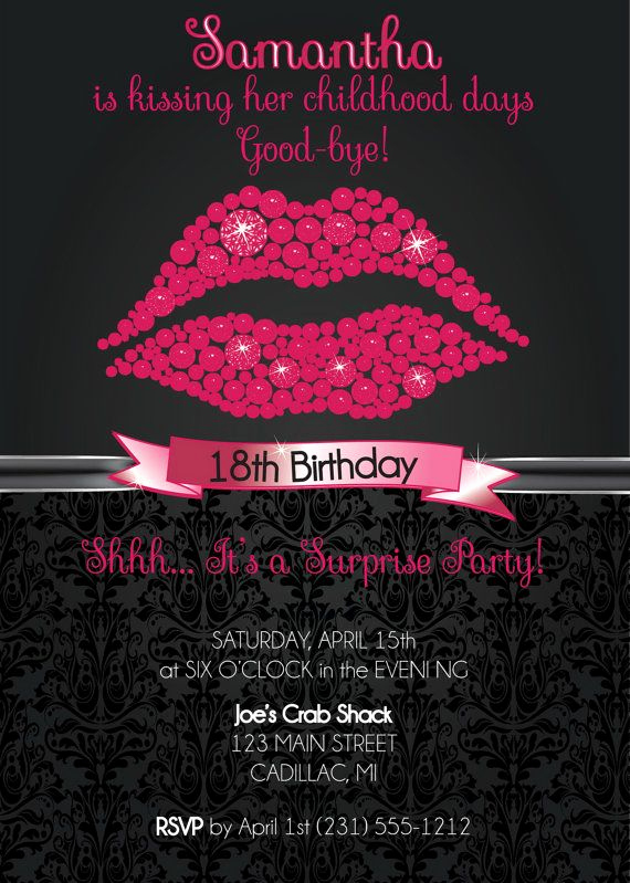 18th Birthday Invitation Wording Luxury Pink Glitter Lips Custom Birthday Invitation 18th
