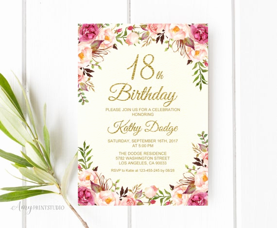 18th Birthday Invitation Wording New 18th Birthday Invitation Floral Cream Birthday Invitation
