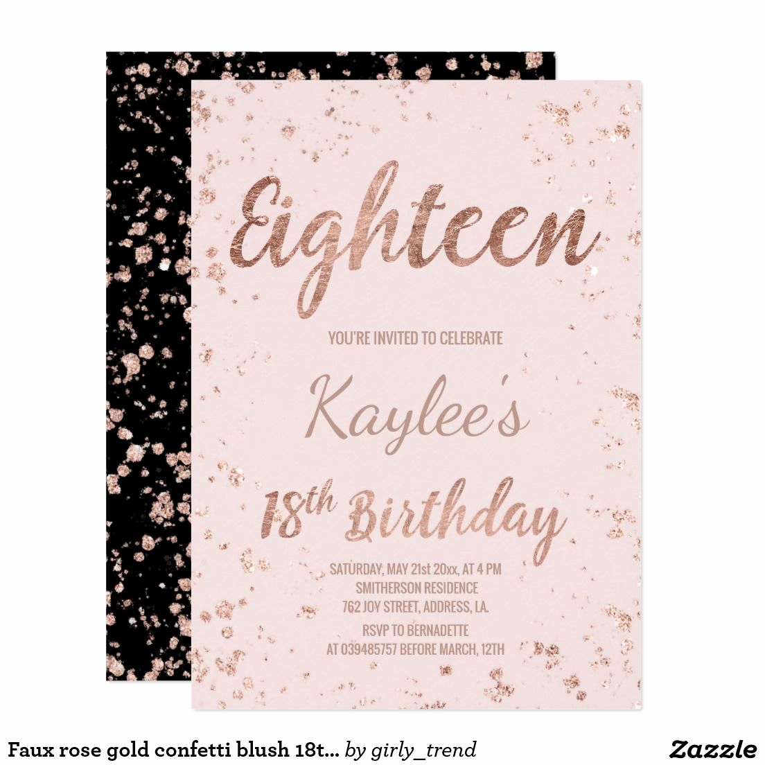 18th Birthday Invitation Wording New Faux Rose Gold Confetti Blush 18th Birthday Invitation