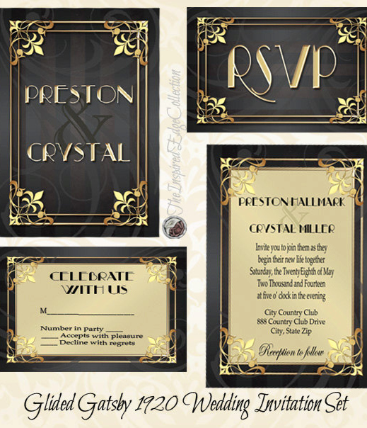 1920s Invitation Template Free Awesome Gilded Gatsby 1920 Invitation & Rsvp Printable by