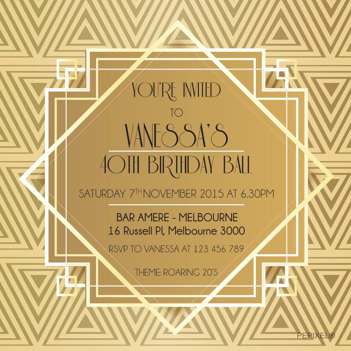 1920s Invitation Template Free Awesome Great Gatsby Printable Invitation Template Gold Classy