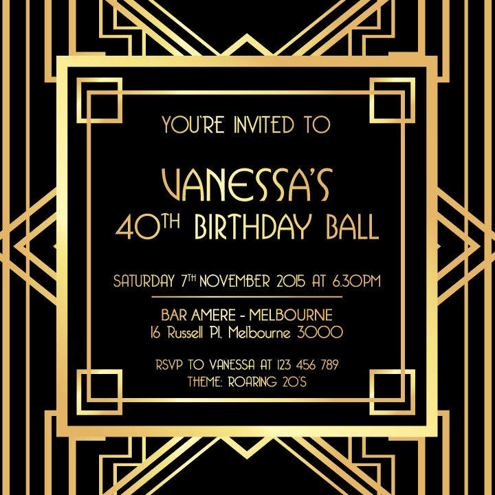 1920s Invitation Template Free Beautiful Great Gatsby Invitation Black and Gold
