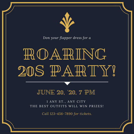 1920s Invitation Template Free Inspirational Dark Blue and Gold 1920s Party Invitation Templates by Canva