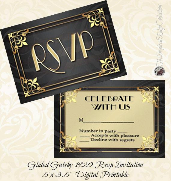1920s Invitation Template Free Inspirational Gilded Gatsby 1920 Rsvp Instant Download Invitation