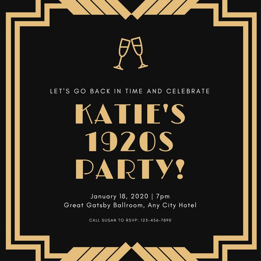 1920s Invitation Template Free Inspirational Great Gatsby Invitation Templates Canva