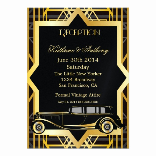 "1920s Invitation Template Free Inspirational Roaring Twenties Gatsby Style Reception 4 5"" X 6 25"