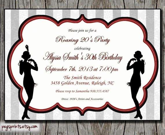 1920s Invitation Template Free New Roaring 20s Birthday Invitation 1920s Invitation