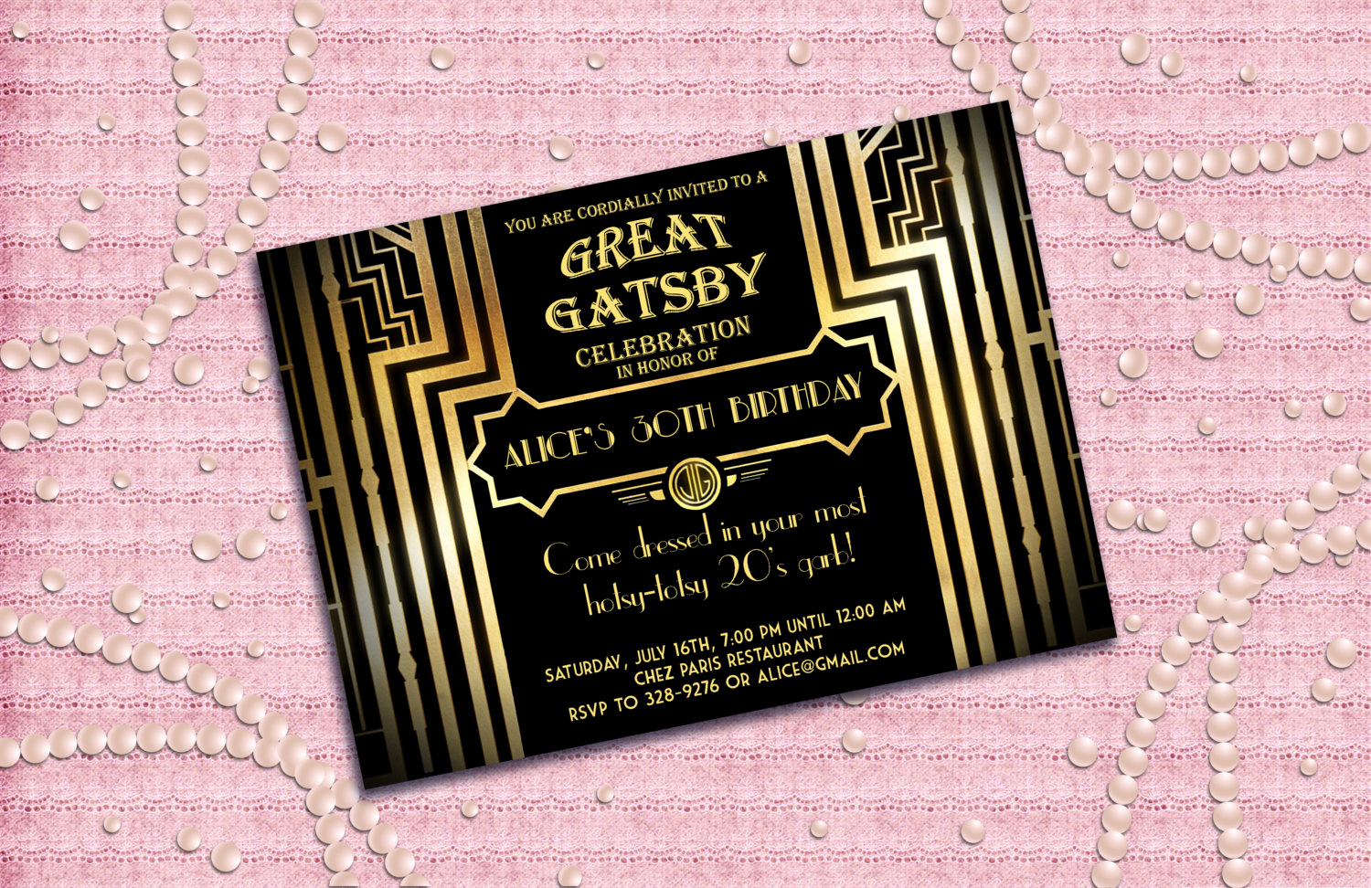 1920s Party Invitation Template Free Beautiful Great Gatsby Style Art Deco Birthday Party Invitation by