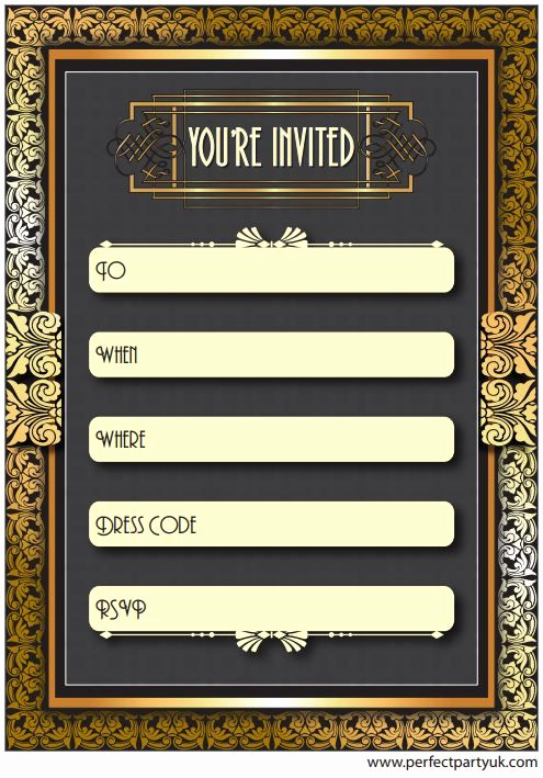 1920s Party Invitation Template Free Best Of 1920s Great Gatsby Party Invitation Get the Free