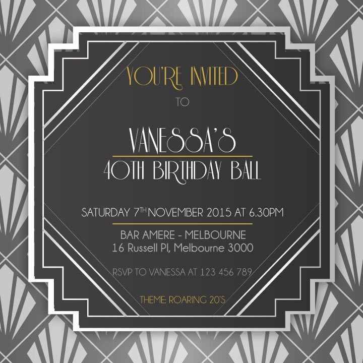 1920s Party Invitation Template Free Elegant 1920 S Birthday Digital Printable Invitation Template