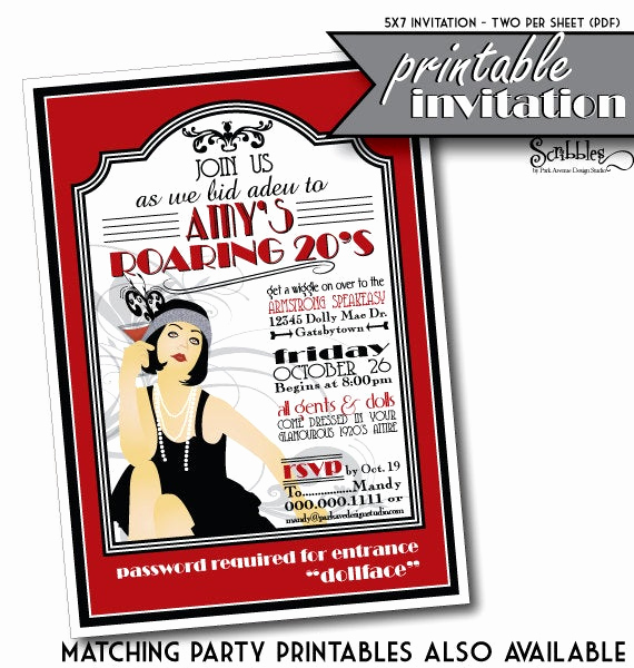 1920s Party Invitation Template Free Elegant Items Similar to Roaring 20s Printable Party Invitation