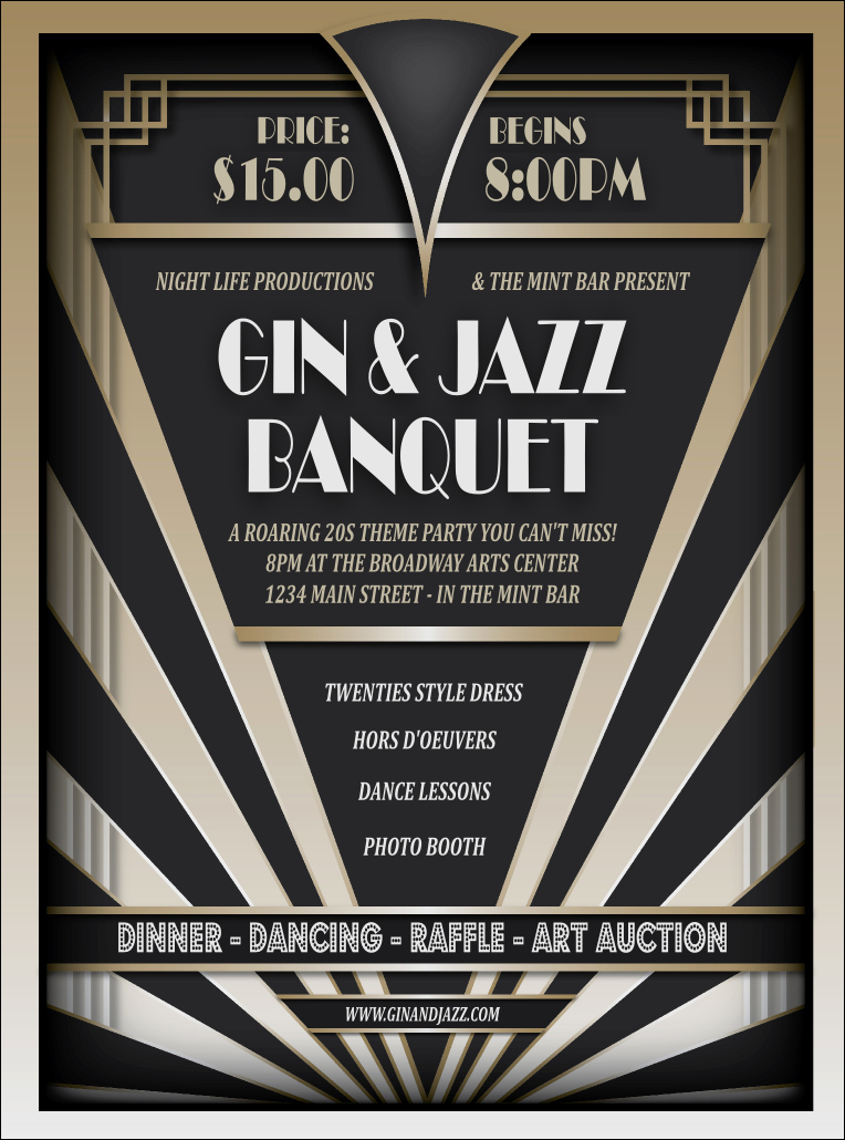 1920s Party Invitation Template Free Elegant Roaring 20s Flyer