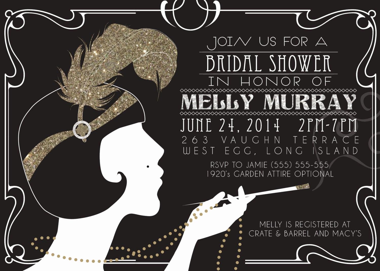 1920s Party Invitation Template Free Fresh 1920 S Gatsby Flapper Bridal Shower Invitation