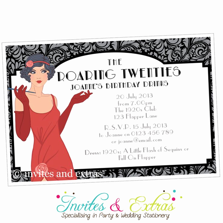 1920s Party Invitation Template Free Fresh Roaring 20s Party Invitation Personalised