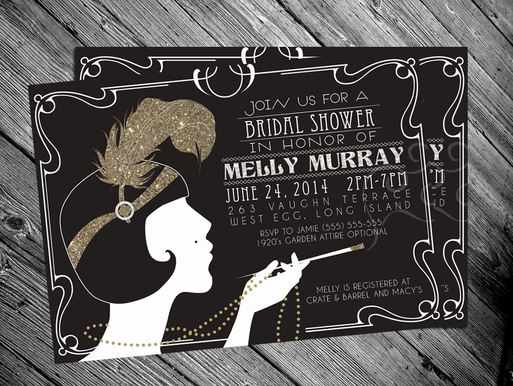 1920s Party Invitation Template Free Luxury 1920 S Gatsby Flapper Bridal Shower Invitation