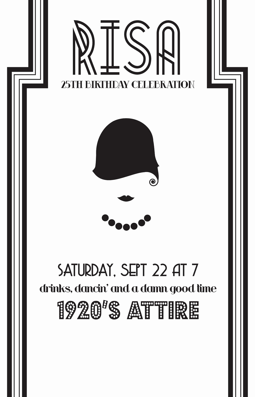 1920s Party Invitation Template Free Luxury 1920s Party Invite