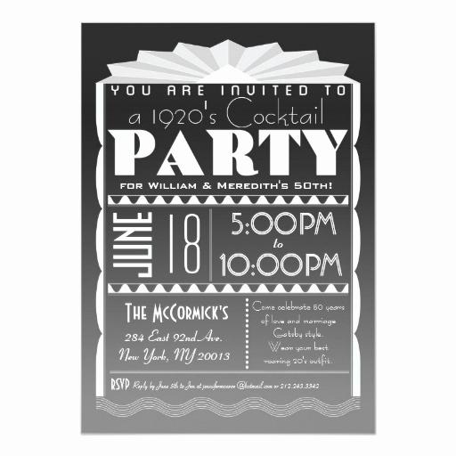 1920s Party Invitation Template Free New Art Deco Invitation Gatsby Style Custom Text