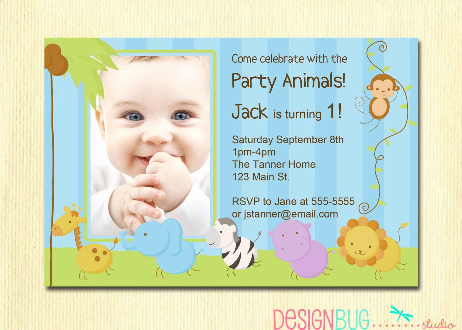 1st Birthday Invitation Ideas Elegant 1st Birthday Baby Animals Invitations