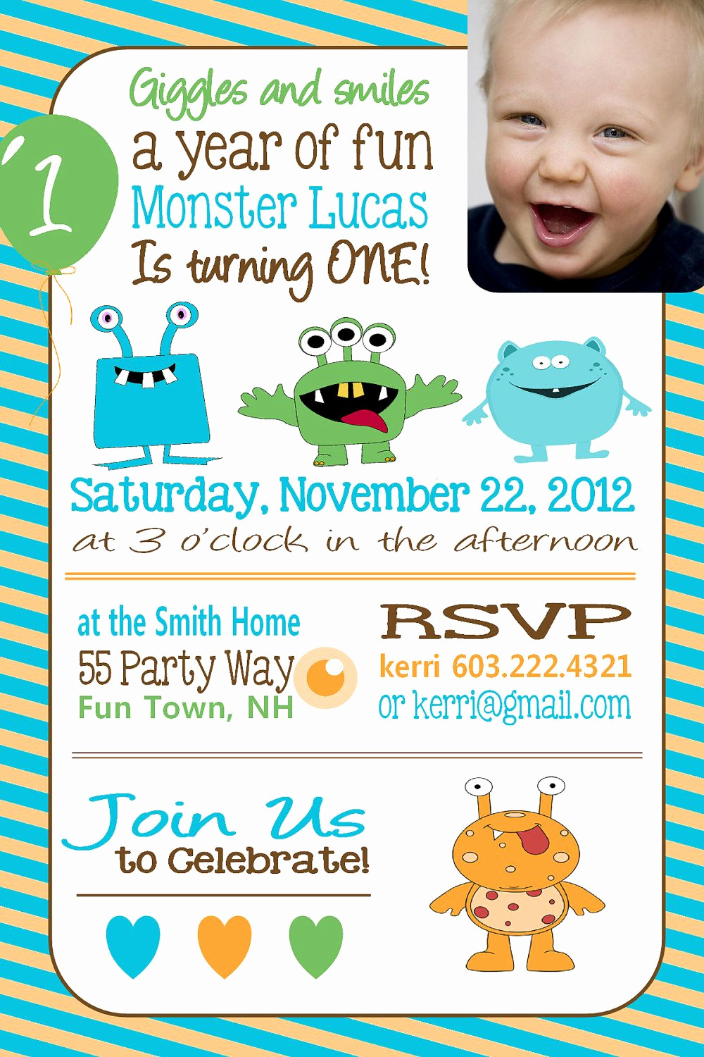 1st Birthday Invitation Ideas Fresh Monster Birthday Party Invitation by