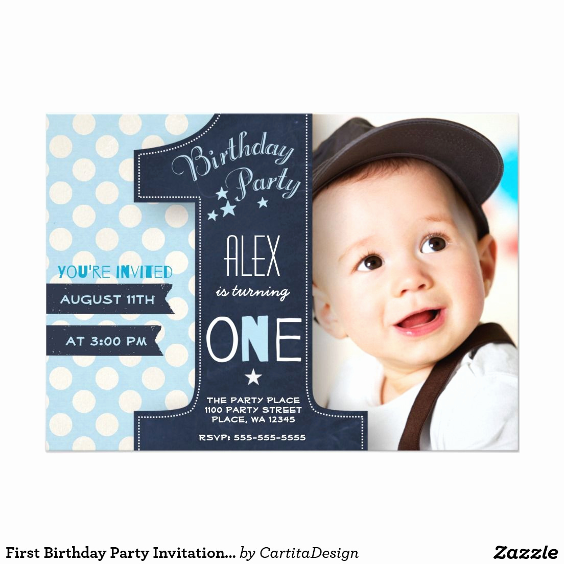 1st Birthday Invitation Ideas Inspirational Modern Blue & White Dot Black Chalkboard E First