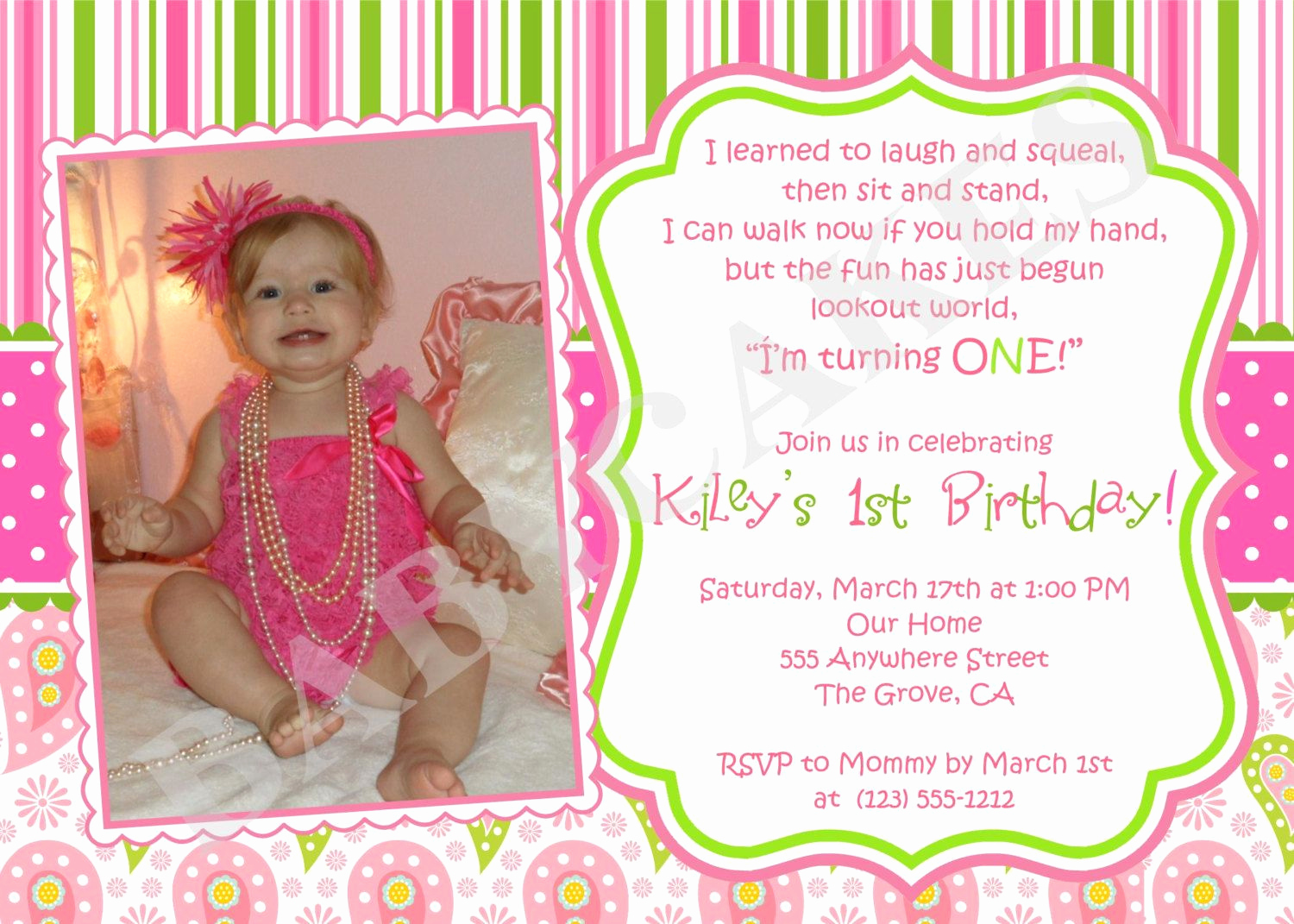 1st Birthday Invitation Ideas Lovely 1st Birthday Girl themes