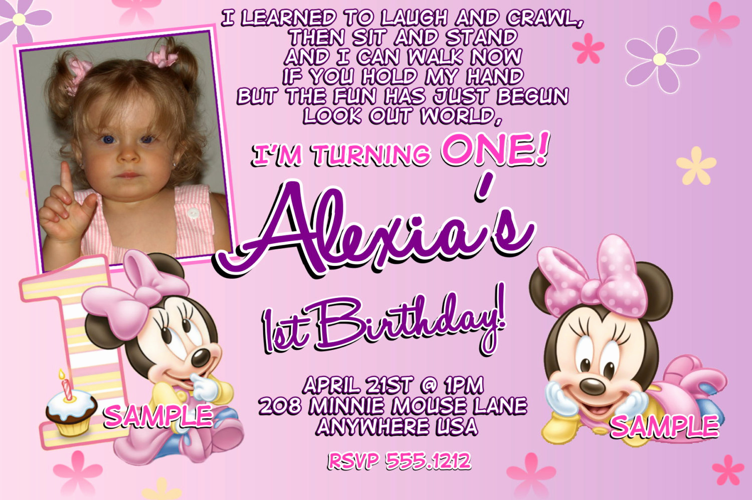 minnie mouse first birthday invitations ideas