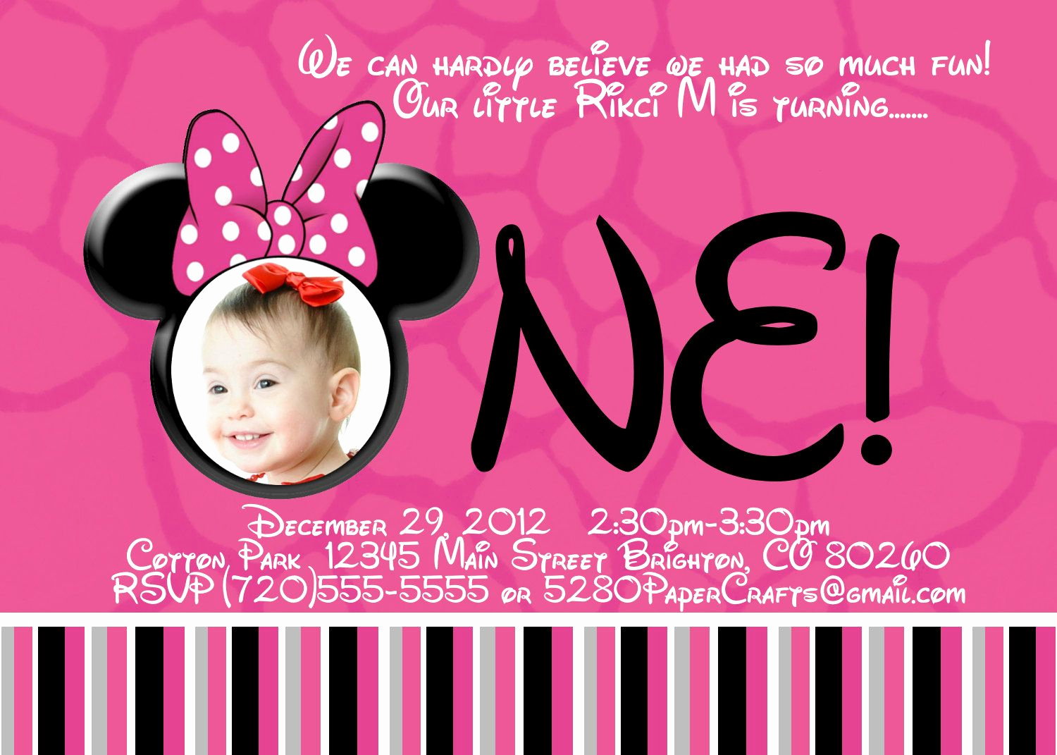 1st Birthday Invitation Message Awesome Disney Minnie Mouse 1st Birthday Invite Diy Printing