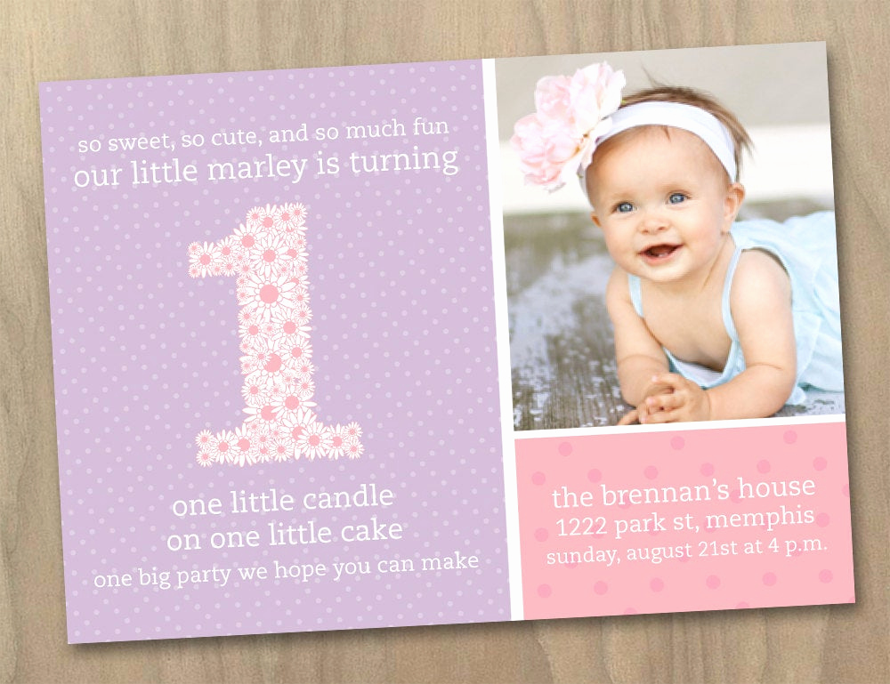 1st Birthday Invitation Message Best Of Baby Girl First 1st Birthday Invitation Pink and