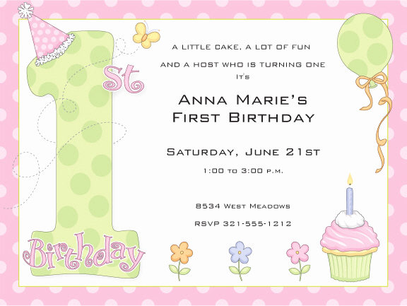 1st Birthday Invitation Message Elegant 1st Birthday Party Girl Invitations by Paper so Pretty at