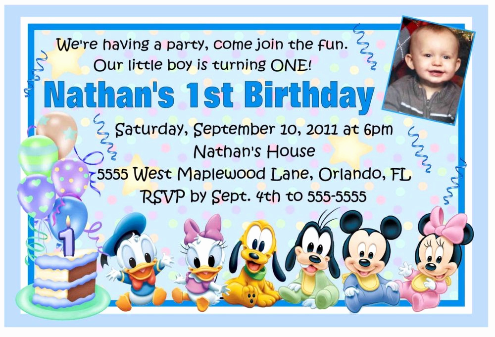 1st Birthday Invitation Message Elegant Mickey Mouse Disney Babies 1st Birthday Invitations