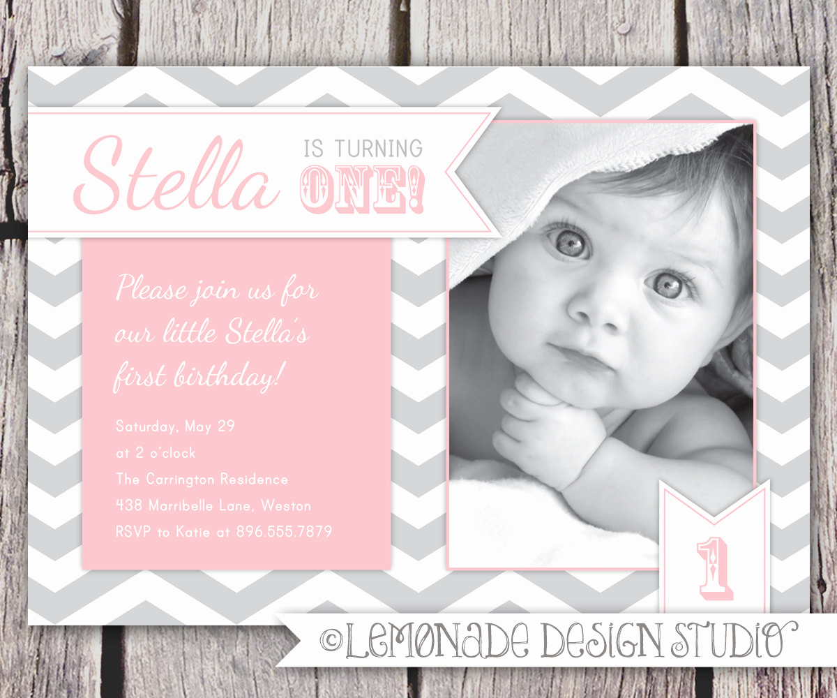 1st Birthday Invitation Message Inspirational First Birthday Invitation Chevrons by Lemonadedesignstudio