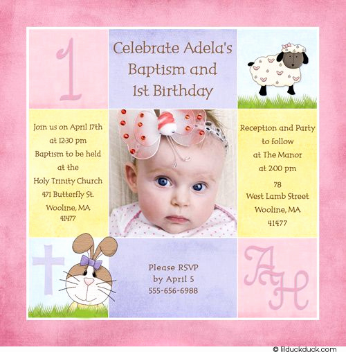 1st Birthday Invitation Message Luxury 1st Birthday and Christening Baptism Invitation Sample