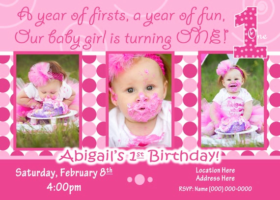 1st Birthday Invitation Message New 1st Birthday Girl Invitation 1st Birthday Girl Invite