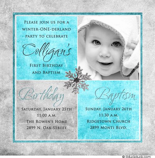 1st Birthday Invitation Message New Winter Birthday Baptism Invitation