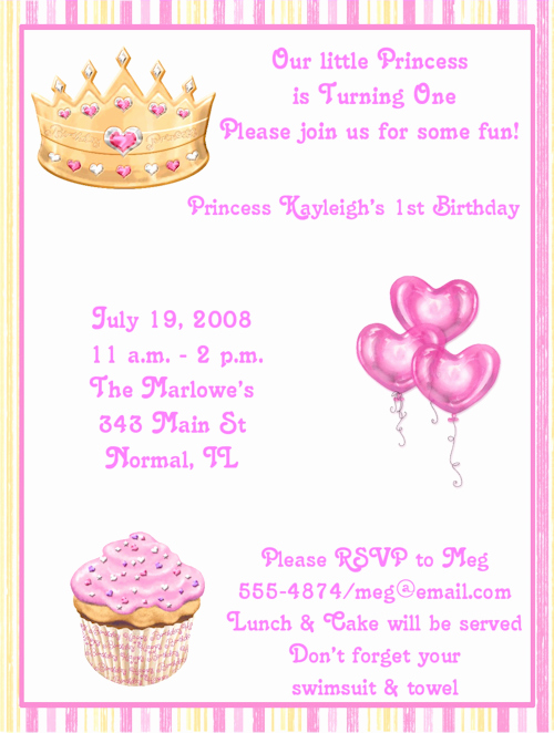 1st Birthday Invitation Message Unique Princess Birthday Party Invitation Wording