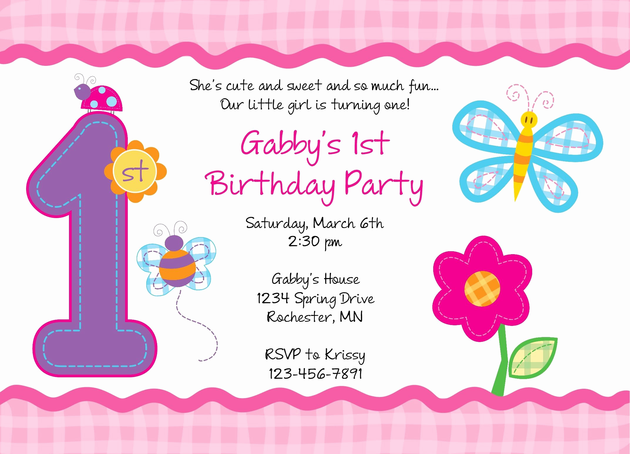 1st Birthday Invitation Template Awesome Birthday Invitation Card Free Printable 1st Birthday