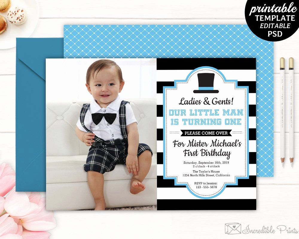 1st Birthday Invitation Template Fresh Gentleman Birthday Invitation Boy First Birthday Invite