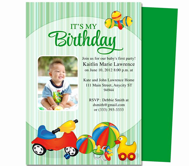 1st Birthday Invitation Template Lovely toys Baby 1st Birthday Printable Invitation Template